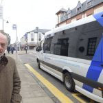 NO TOUR  BUSES 5/4/17 Fort William businessman Drew Purden at the bus stop nearest the High Street, where a tourist bus braves the ban to drop off passengers. PICTURE IAIN FERGUSON, THE WRITE IMAGE