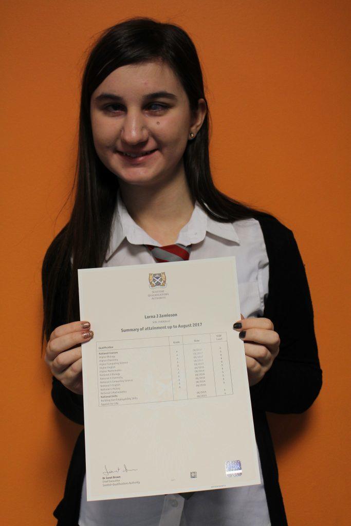 Exam success for Kinlochleven's Lorna
