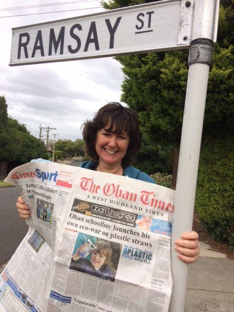 Neighbours soap fan Helen reads all about it ...in Ramsay ...Helen Ramsey