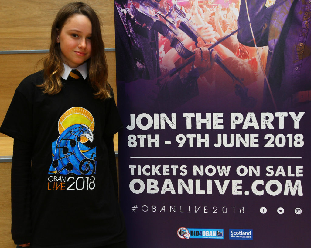 Two school pupils will have their artwork on this year's official Oban Live T-shirts