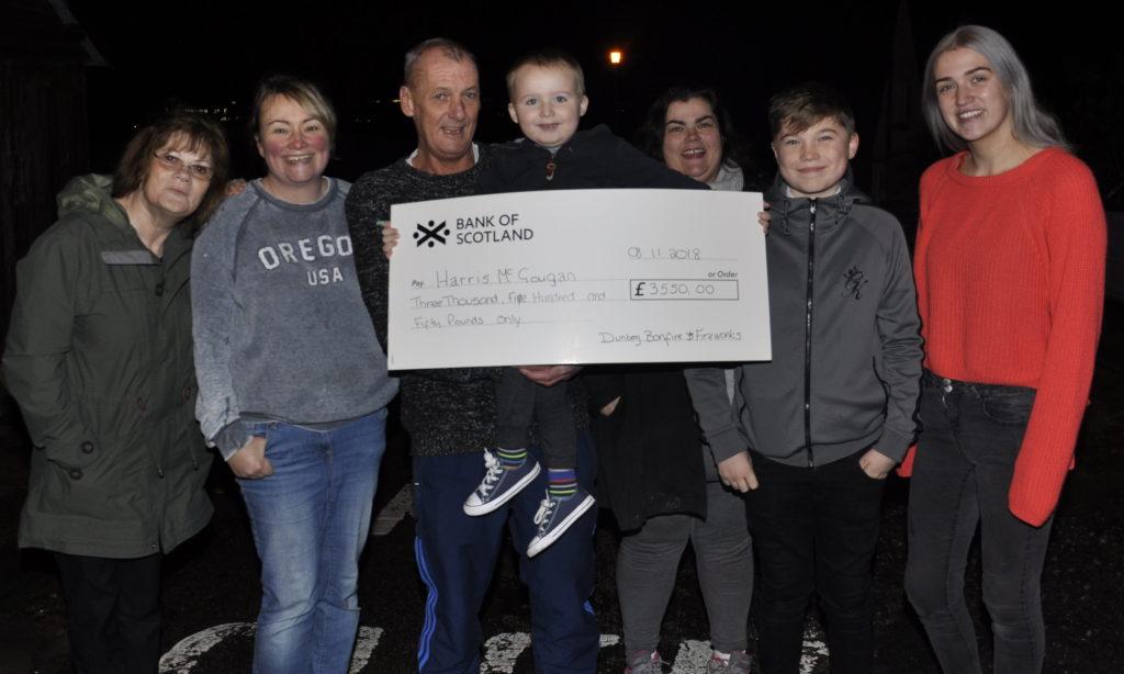 Dunbeg bonfire raises £3,550 for brave Harris