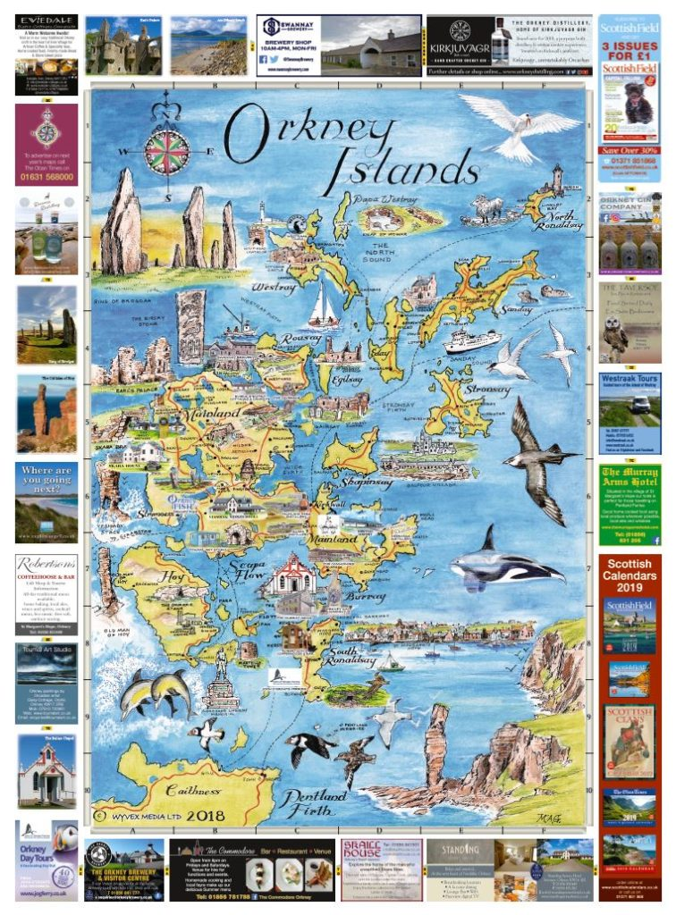 Orkney Islands & Kirkwall and Stromness Maps 2018