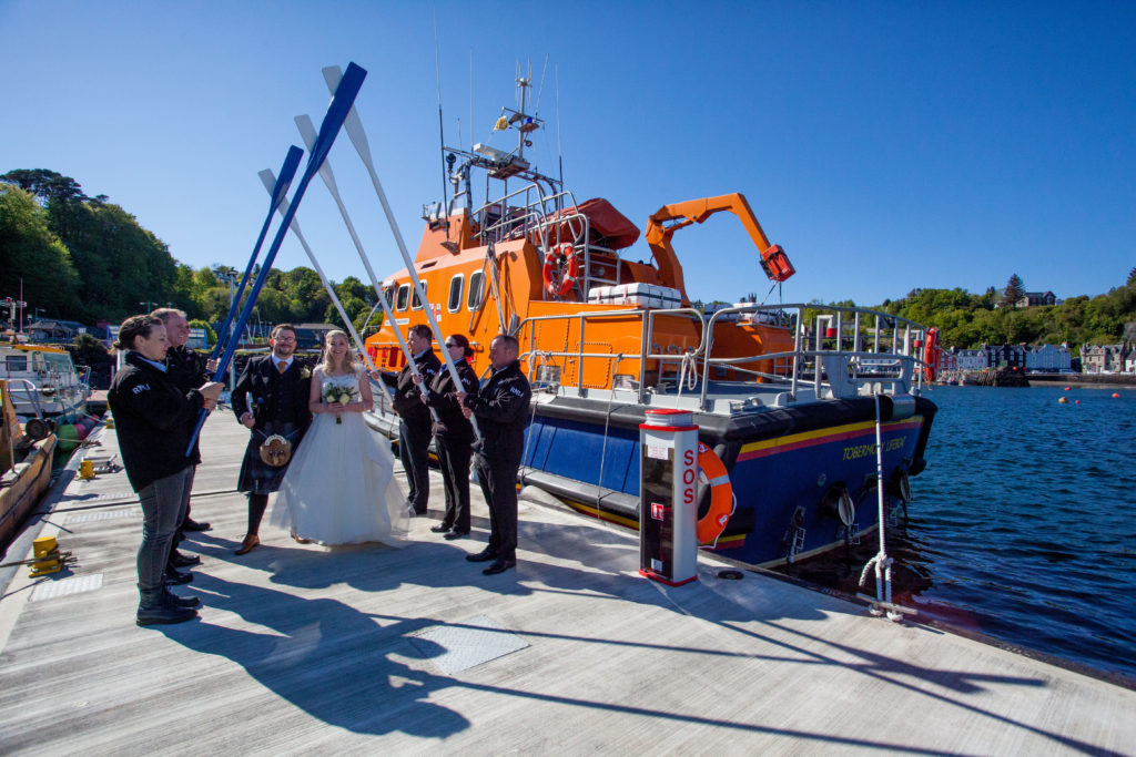Lifeboat crew stand on ceremony for David and Seonaid