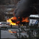 Two vehicles engulfed by flames at Oban's Lochavullin Car Park. 17_T49_LochavullinFire01