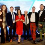 Pictured at the awards are, from left, Jennifer Reoch (Host and STV presenter); James Leggett, (GSB Brewer), Lucy Hicks,( GSB General Manager), John Fish, (GSB Assistant Brewer), Ian Peter MacDonald,( Sales Director) and Quintin Stevens, (HIFAD Awards Steering Group). NO F47 Glen Spean Brewing Co Award photo