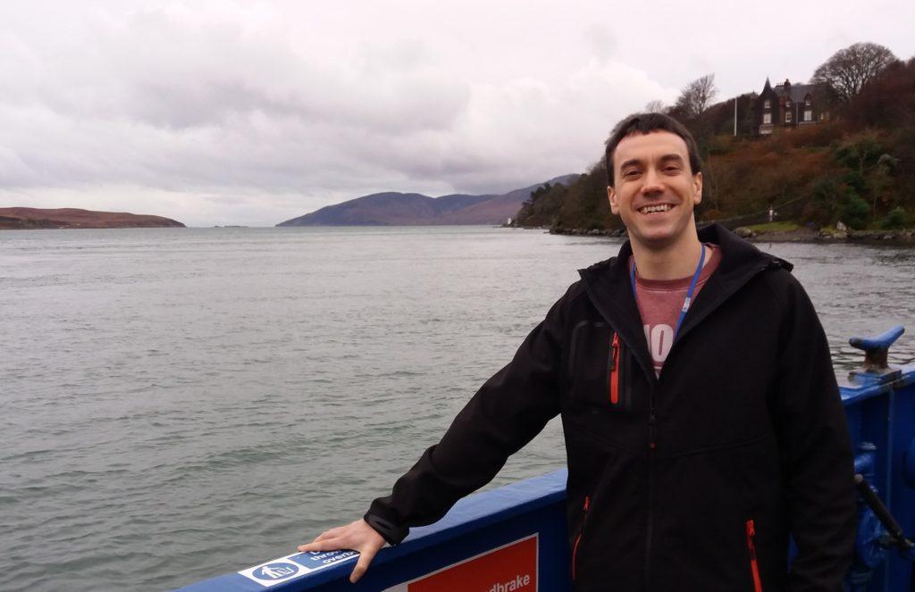 Cllr Redman on the Jura ferry.