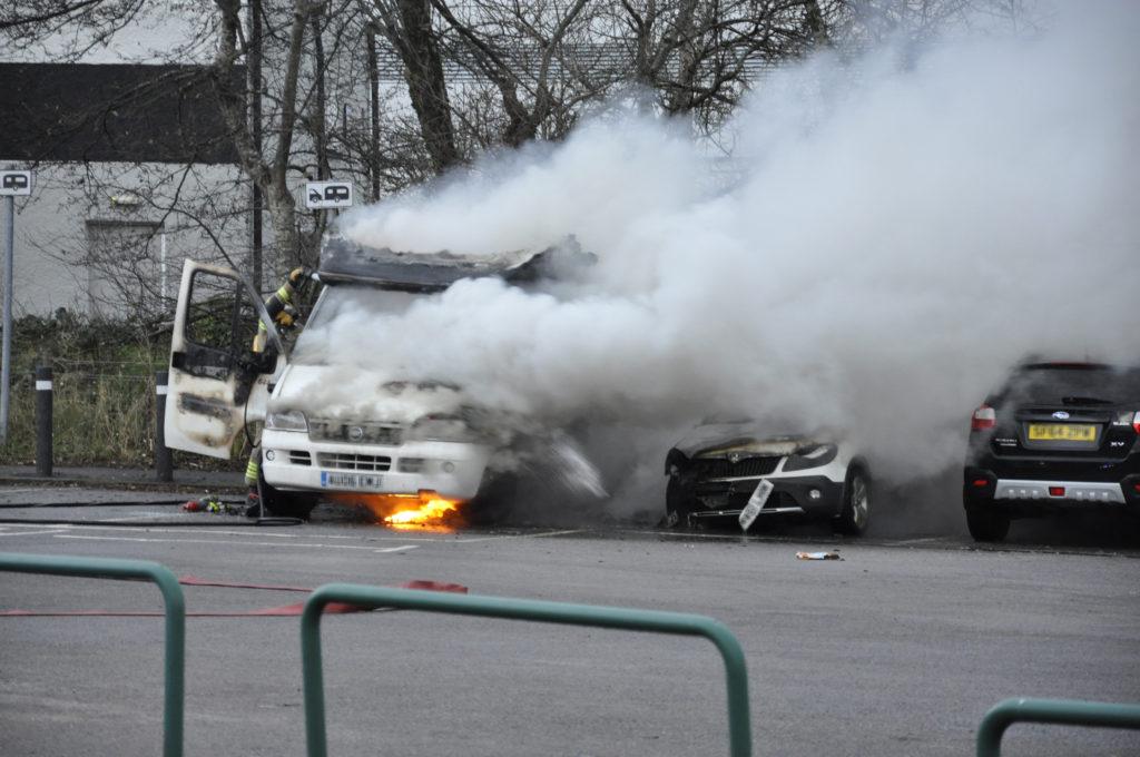 Man suffers burns in campervan fire
