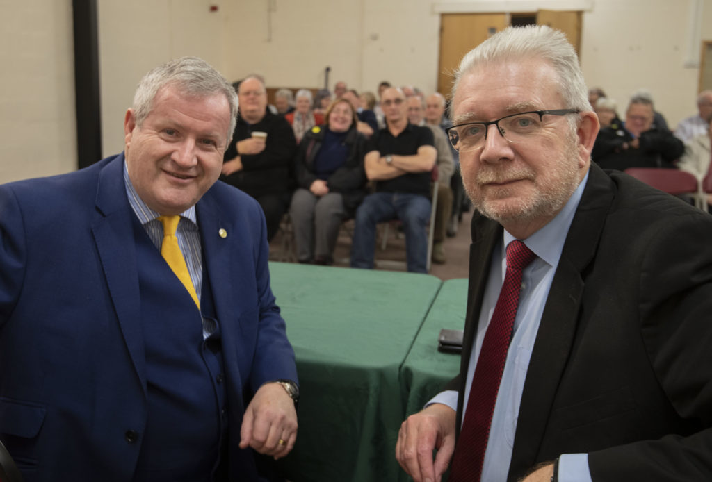 Mike Russell MSP, (right) Cabinet Secretary for Government Business and Constitutional Relations joined Ian Blackford, SNP Parliamentary candidate for Ross Skye and Lochaber, at a public meeting in the Nevis Centre. Photograph, Iain Ferguson, alba.photos NO F49 IAN BLACKFORD MEETING