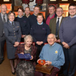 Alan Lamb and his wife Helen with guests at his farewelll afternoon tea in Ben Nevis Distillery. Photograph: Iain Ferguson, alba.photos NO F50 ALAN LAMB RETIRES FROM ATC