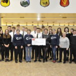 Oban High School pupils hand over a cheque to the Oban branch of Cancer Research. 17_T02_OHSCheque01