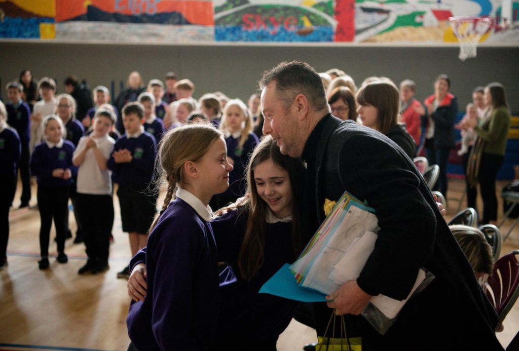 Lundavra pupils and staff bid farewell to long-serving janitor